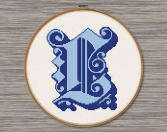 "Letter ""L"" - PDF Cross Stitch Pattern,  Inspired by the font ""Dearest"""