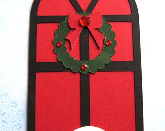 4 Christmas Doors with Wreaths Ready made Christmas card Toppers for cards crafts scrapbooking christmas door with wreaths and snow
