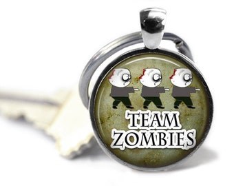 Team Zombies, Zombie Keychain, Horror Keychain, Walking Dead, Zombie Lover, Halloween Keychain, Halloween Necklace, Goth Jewelry