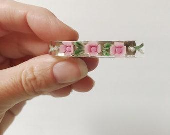 Vintage Pink Flower Confetti Lucite Hair 50's Clip