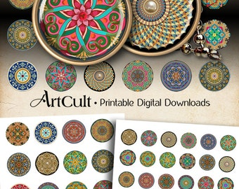 1 inch (25mm) and 1.5 inch size MOROCCAN ORNAMENT CIRCLES Digital Collage Sheet Printable images for pendants bottle caps bezel trays