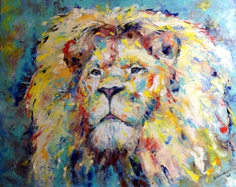 Lion Painting 40 Inches Impasto Animal Art Work Large Canvas Impressionism Art Interior Painting Home Wall Decor Modern Office Painting