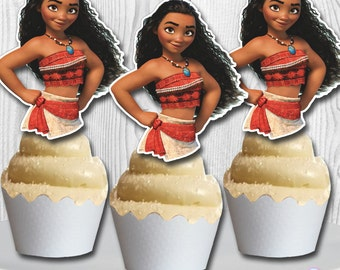 MOANA Cupcake Toppers, Moana Cake Pop Toppers, Moana Cupcake Picks, Double-Sided, Digital File, You Print