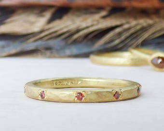 Ethical Wedding Ring - Diamond Band for Women - Wedding Ring - Unique Wedding Ring - Cognac Diamond Eternity Band - Gold and Diamond Ring