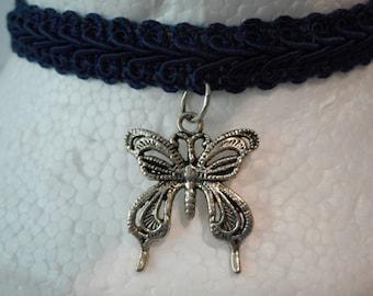 Butterfly Navy Trim Choker Ready To Ship