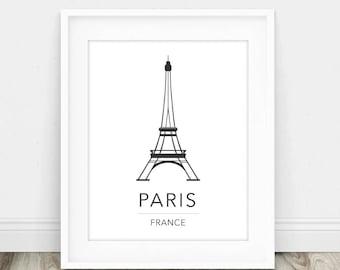 Eiffel Tower Poster - Paris Travel Poster - Eiffel Tower Print - Paris Bedroom Art - Pretty Paris Print - Paris Poster - Paris Printable