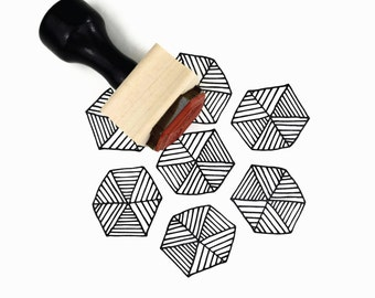 Hexagon Lines Stamp | Hand Drawn Pattern Rubber Stamp | DIY Geometric Pattern Maker | Wood Mounted Stamp with Handle