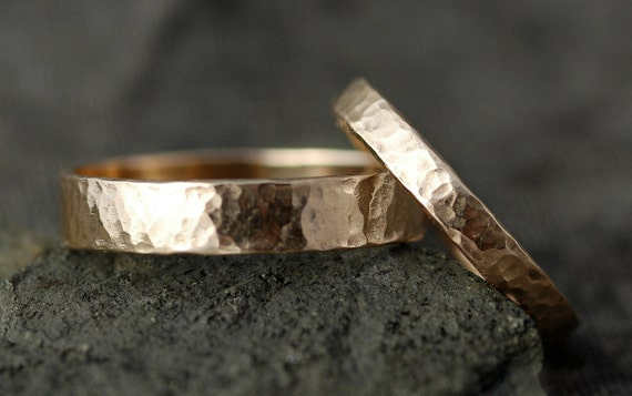 10k Gold Wedding Bands with Hammered Finish- Custom Made
