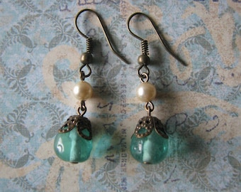 Victorian Style Vintage West German Glass Bead Earrings Assemblage Repurposed Upcycled