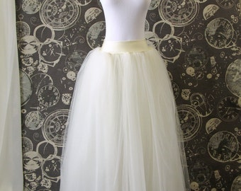 Ivory Tulle Skirt - Adult full Length Tutu with Wide Lycra Waistband, Wedding Skirt, or Petticoat - Made to Order