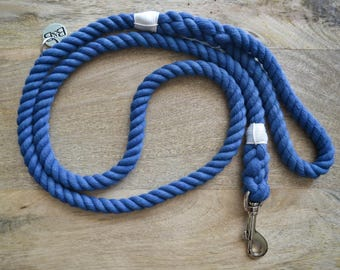 Cotton Rope Dog Leash - Blue   Dog Leash   Dog Lead   Rope Dog Leash   Hand Dyed Cotton Rope   Pet Accessory   Dog Lover Gift  