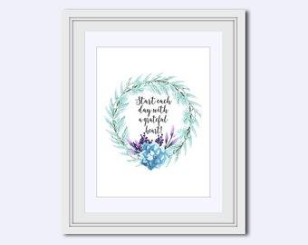 grateful printable - Grateful quote - inspirational quote - light blue print - floral Home decor - motivational poster - Instant download