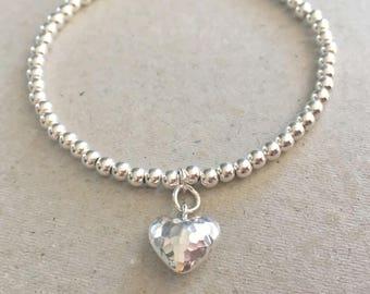 Sterling Silver Heart Charm Bracelet, Silver Bead Bracelet, Silver Ball Bracelet, 925 Silver Charm Bracelet, Silver Heart Jewellery Gift