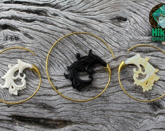 TRIBAL EARINGS, black horn, shell earings, bone carved earings, brass earings, bohemian, gorgeous, festivalstyle