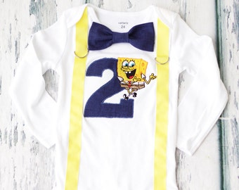 Baby boy second birthday Spongebob number 2 onesie with bow tie and suspenders boy 2nd birthday boy number 2 onesie boy second birthday