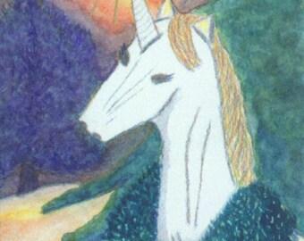 ACEO SFA Unicorn Christmas 2 limited edition print of mixed media art