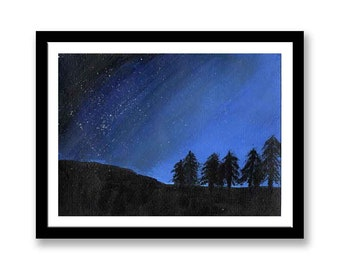 Trees at night - Landscape painting   // Original acrylic painting // Office Art// Wall art // Corporate Art //40th Anniversary gift