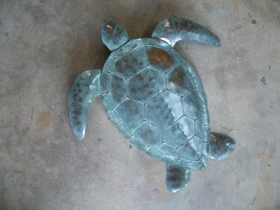 Sea Turtle Handmade Metal wall Art sculpture 20in x 20in Tropical  Coastal Beach Ocean