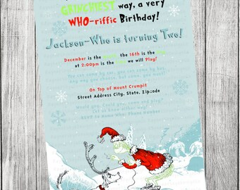 Dr Seuss Christmas Invitation