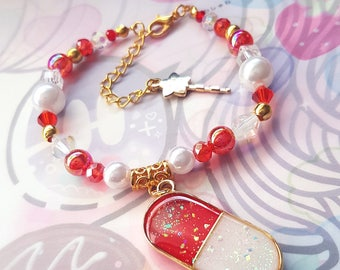 Red and White Medication Charm Bracelet (gold)