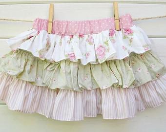 Girls ruffle skirt, floral ruffle skirt, girls floral skirt, twirl skirt, toddler floral skirt, boho girls skirt, shabby chic girls skirt