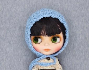 Crochet Blythe Bonnet helmet hat baby blue