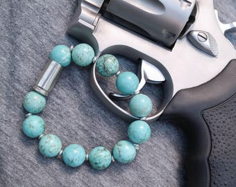 Turquoise and Nickel Bullet Large Bead Stacker Bracelet