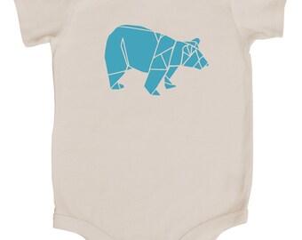 Origami Bear Baby Bodysuit (Natural and Ocean Blue)