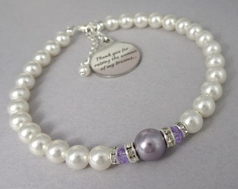 Mother of the Bride Gift Bracelet, Mother of the Groom Gift, Light Purple Wedding Bracelet, Thank You For Raising the Woman of My Dreams