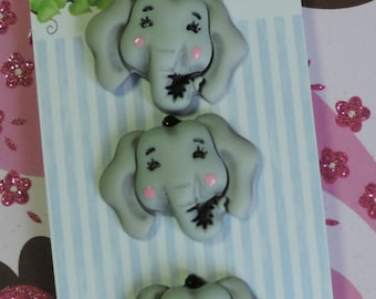"""Elephant Buttons, """"Elsie The Elephant"""", Carded Novelty Buttons, Bazooples Collection by Buttons Galore, Carded Set of 3"""