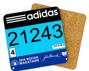 Boston Marathon Bib Coaster, Race Bib Coaster, Run Boston Coaster, Dallas Marathon Coaster,  Drink Coaster, Gift for Runner, Runners Gift