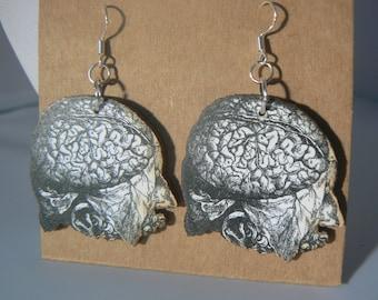 vintage anatomy brains earrings love medical lasercut woodcut