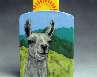 Hand Painted Llama Portait Ceramic Lidded Vase