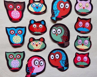 Fabric Iron On Owl Appliques