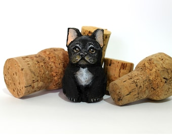 French Bulldog Black,miniature,custom portrait,sculpture,gift pet cat dog,hand carved and painted,with cork