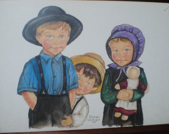 Amish Artwork/Freiman Stoltzfus Artwork/ 1991/Framed Greeting Card/Collectible Gift/Framed Unused Greeting Card/Folk Art/Farmhouse Decor