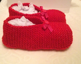 Knitted slippers, size (4uk), red knitted slippers, house slippers, red slippers, slipper socks,