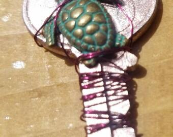 Pink turtle key charm