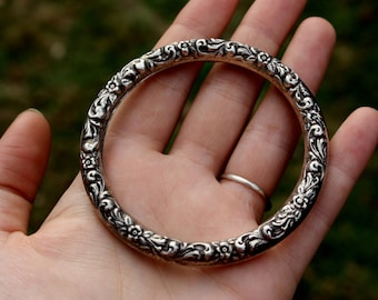 70's, Vintage, 925, Repoussé, Sterling, Silver, Bangle, Bracelet, Jewelry, Repousse, Swirl, Dot, Filligree, Wave, Handmade, Antique, Estate