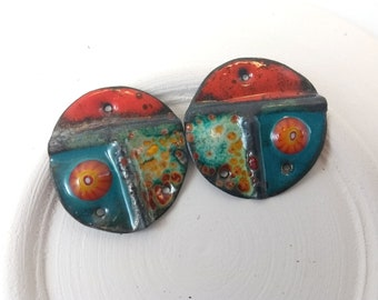 Torch Enameled Beads,Handmade Foldform Copper Connectors,3 Hole pendants,Bohemian Rustic Style,Summer fashion,Lightweight Earring Components