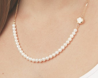 Gold Pearl Necklace wedding necklace bridal or bridesmaid jewelry gold filled necklace blush wedding accessories.