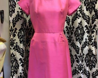 Hot Pink 50's Sheath Dress