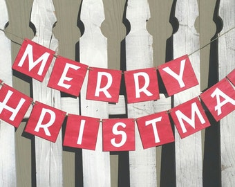 "Merry Christmas Banner 4"" x 4"" Tiles Banner Christmas Holiday Wall Decor Banner"