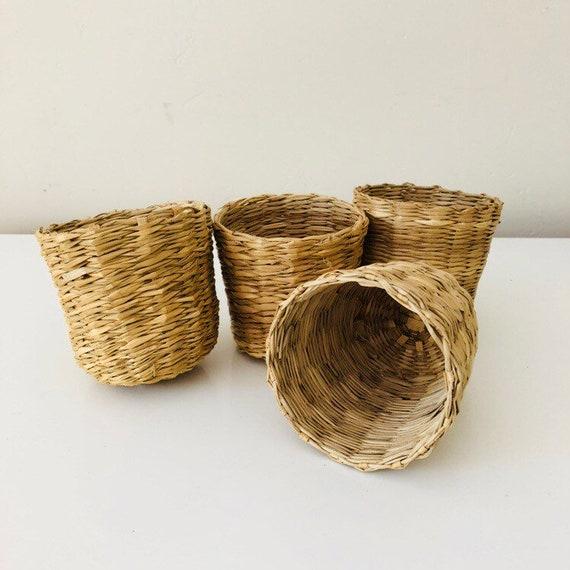 Vintage Woven Raffia Baskets set of (4) Small Wicker Grass Plant Baskets Boho Gardening Decor