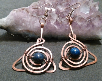 Lapis lazuli earrings, Handmade item,Wire wrapped earrings, Natural stone, Unique jewelry, Lapis lazuli ball