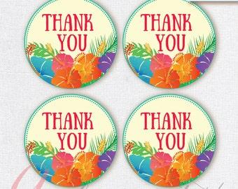 Thank You Favor Tags . Luau tags. Printable tag. Hawaiian printables. Luau party thank you tag. INSTANT DOWNLOAD