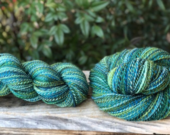 Handspun yarn, pale blue, royal blues and green tones, 100% merino wool, malabrigo wool, sock weight, sport weight, two ply