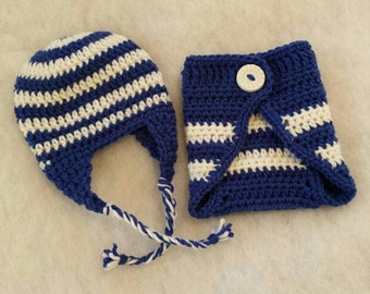 Crochet Diaper Cover - Blue and White - Diaper Cover - Adjustable