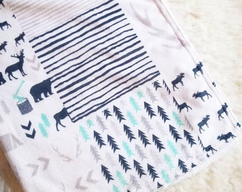 Wild & Free Minky Blanket- Deer, Navy Blue,  White, Adventure, Stripes, Antlers, Moose, Baby shower gift , Gender Neutral