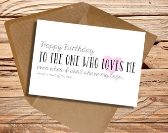 Boyfriend birthday card / girlfriend birthday card / Happy birthday to the one who loves me even when I don't shave my legs